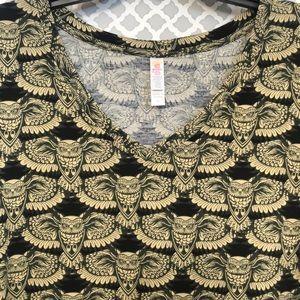 LulaRoe moss green Owls top Irma shirt